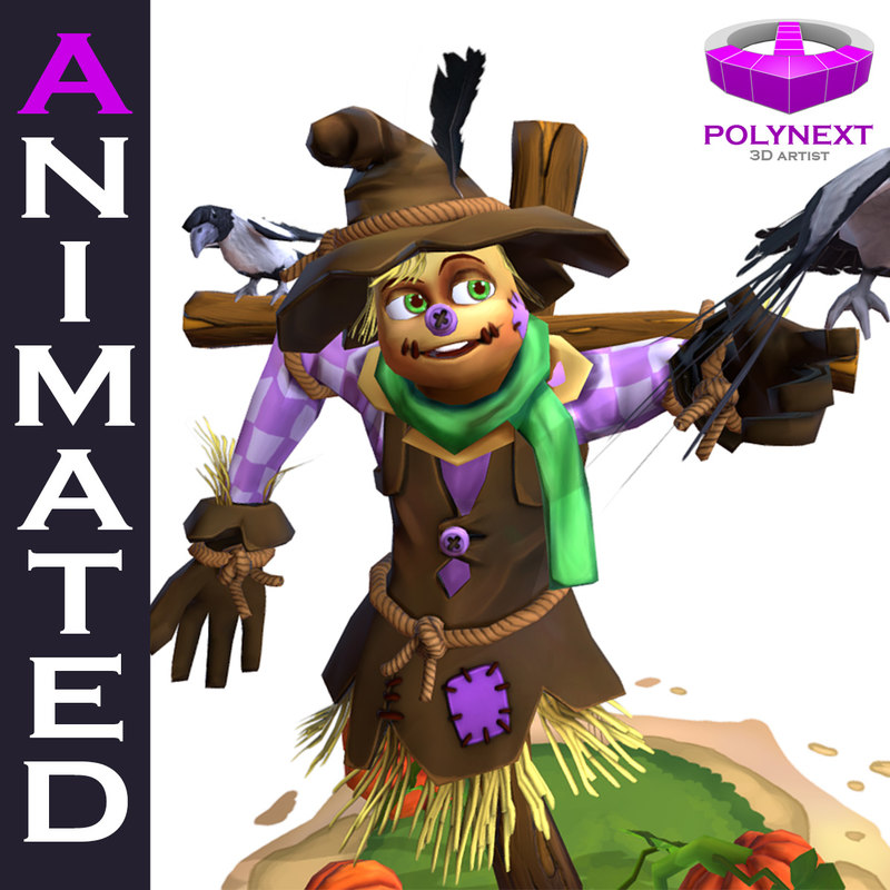 3D cartoon talking scarecrow
