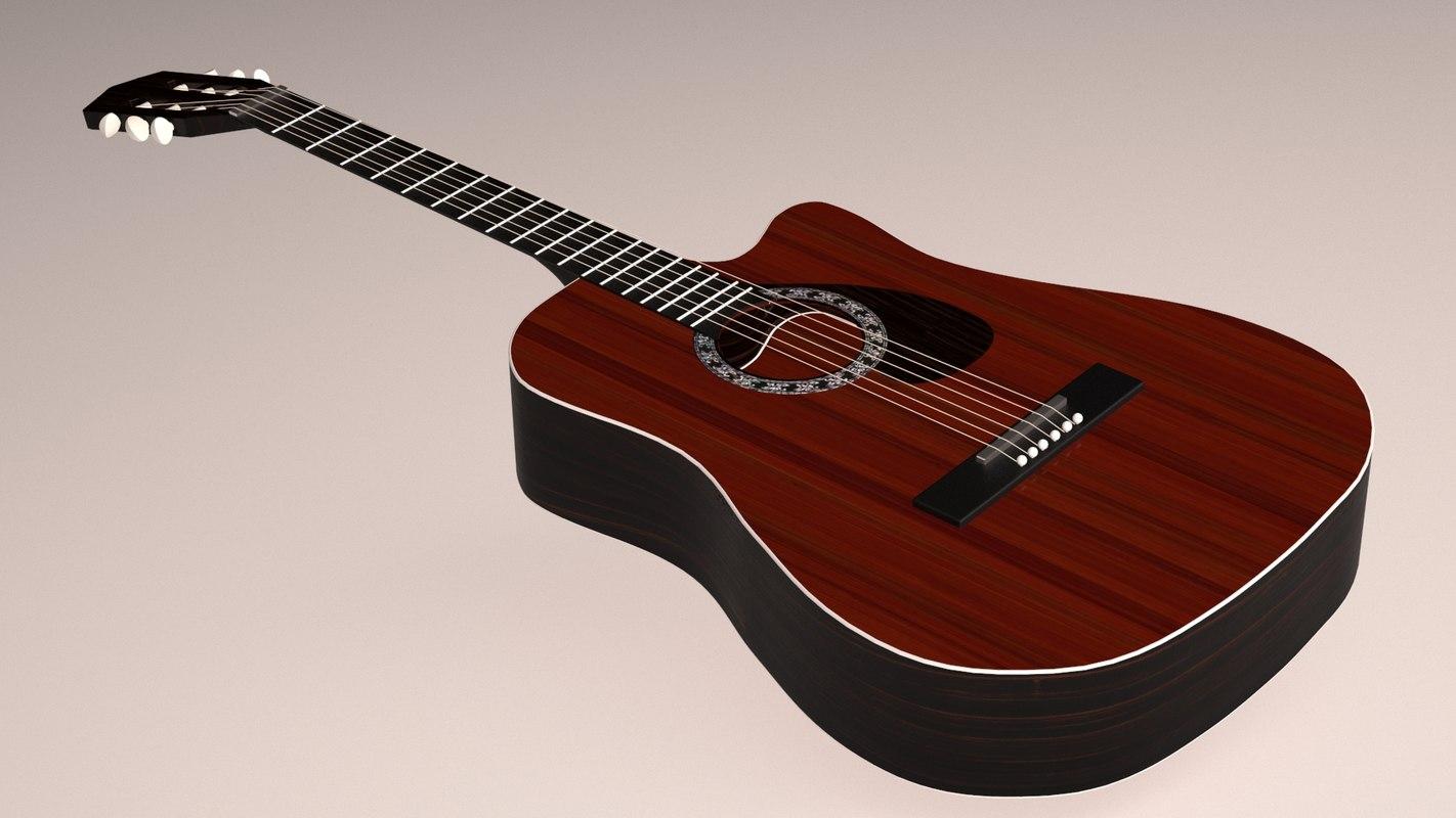 classic acoustic cutaway guitar 3D model