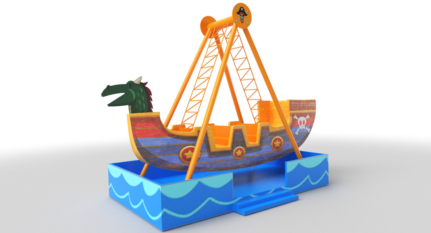 3D amusement park ship