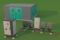 solar inverter transformer station 3D