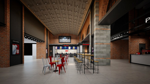 theatre lobby entrance industrial 3D