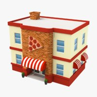 Cartoon Pizza Shop Low Poly 3D Model