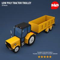 3D tractor trolley model