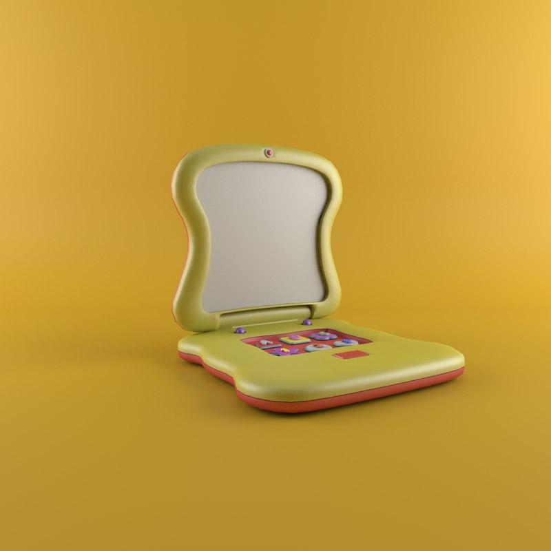 3D laptop yellow model