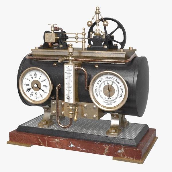 3D french horizontal boiler clock
