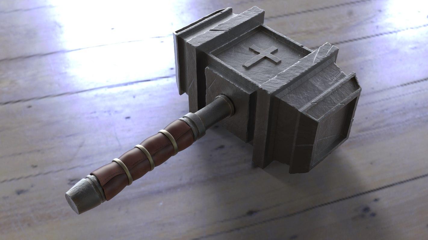 3D medieval hammer - crusader