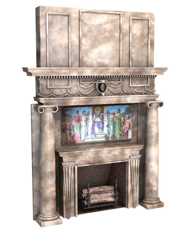 fireplace living room 3D model