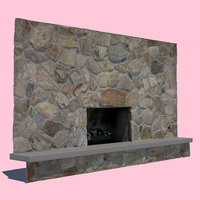 3D mid-century modern fireplace