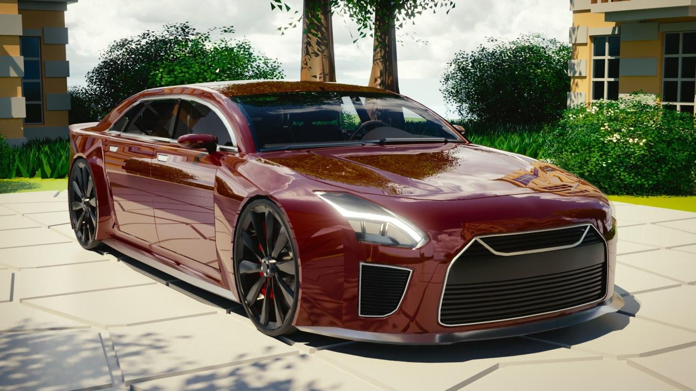 3D model brandless car interior generated