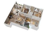3D cutaway modern apartment furnitures