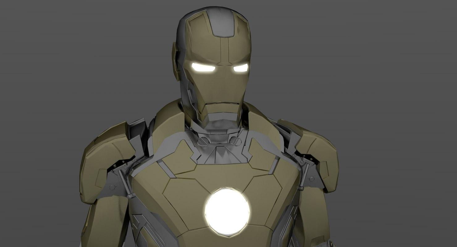 iron man silver gold 3D model