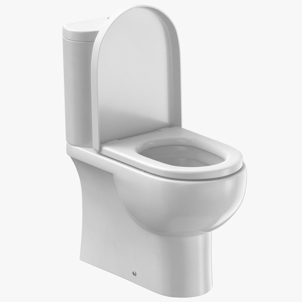 3D contemporary toilet open