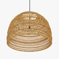 Wicker Hanging Lamp Natural - Large