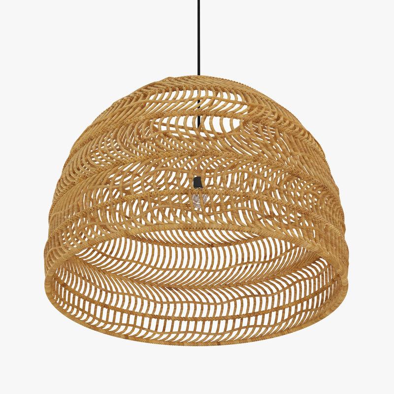 Wicker hanging lamp natural 3D model - TurboSquid 1282487