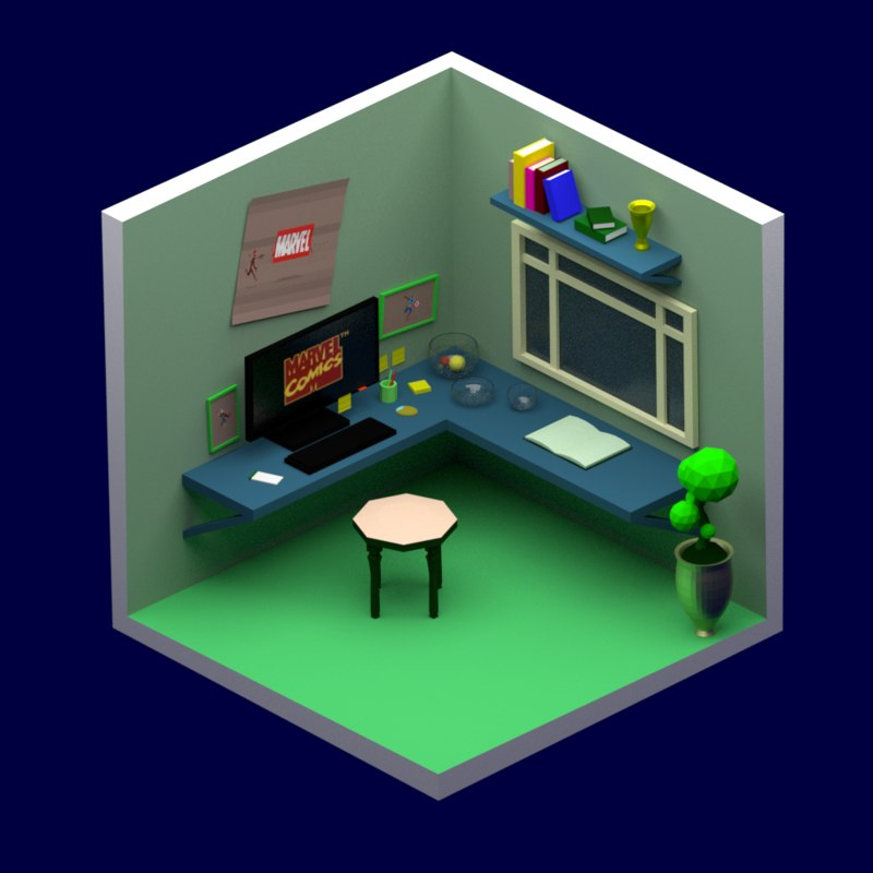 3D room marvel model