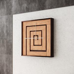 3D wall wood clock model
