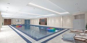 modern indoor swimming pool 3D model