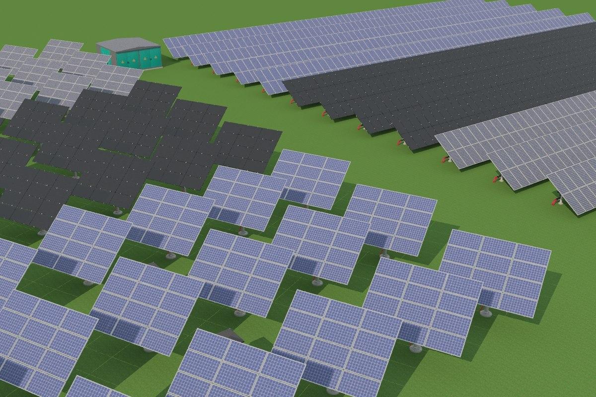 green solar panels 3D model