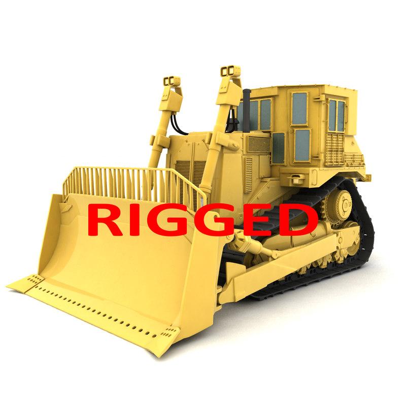 3D rigged bulldozer