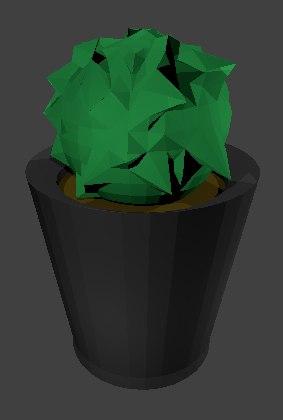 3D bush plant pot model