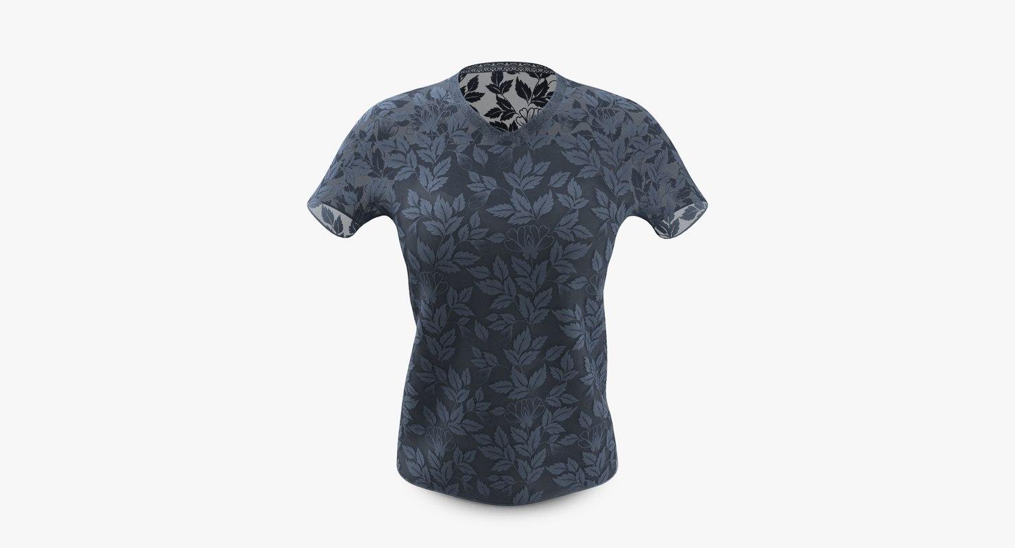 elegant lace shirt fashion 3D model