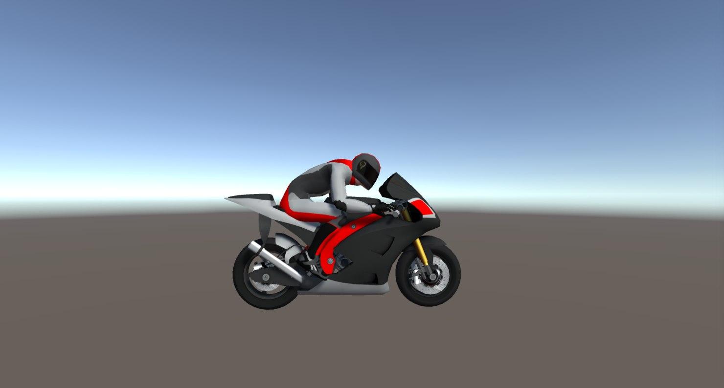 3D model racing bikes vehicle rider
