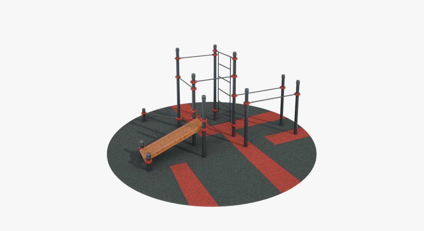 3D calisthenics park ar model