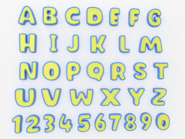 3D model cartoon alphabet