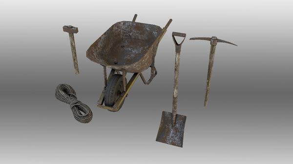 equipment a1 hammer shovel 3D model