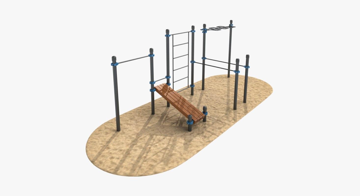 3D outdoor workout spot model