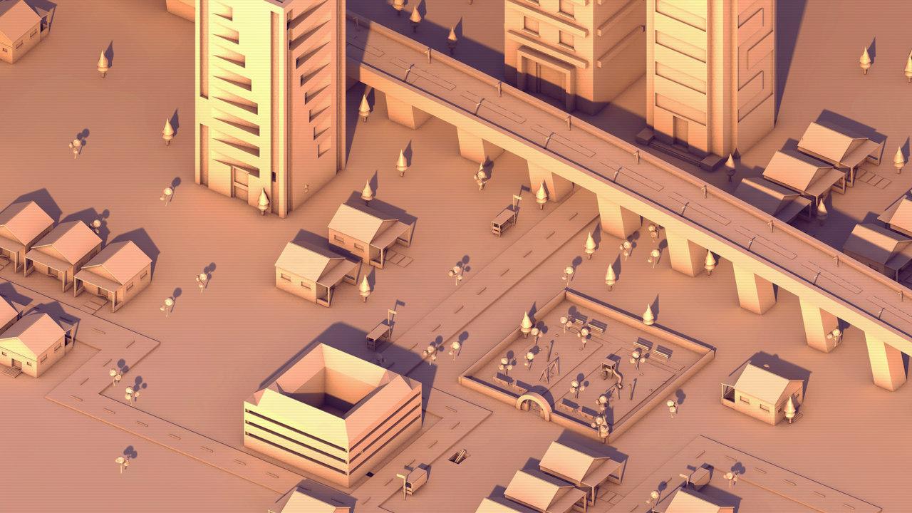 city garden skyscrapers 3D