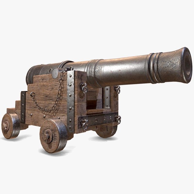 3D pbr war cannon