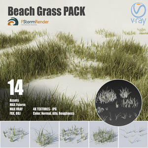 3D beach grass pack plants