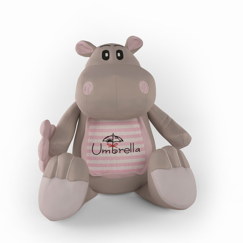 soft toy hippopotamus umbrella 3D model