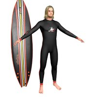 surfer surfing man 3D model