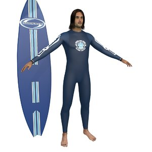 3D surfer surfing man model