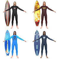 3D pack surfer surfing man