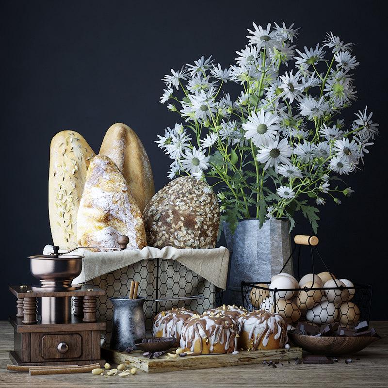 set bread cinnabon 3D model