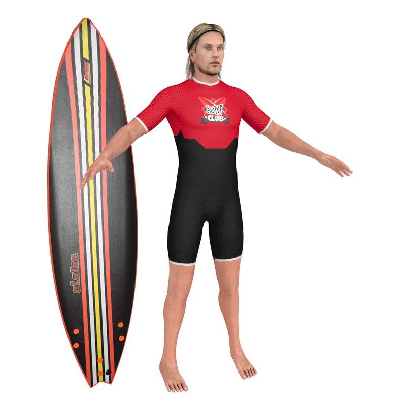 surfer surfing man 3D model