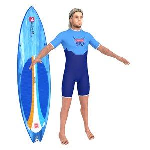 3D surfer surfing man