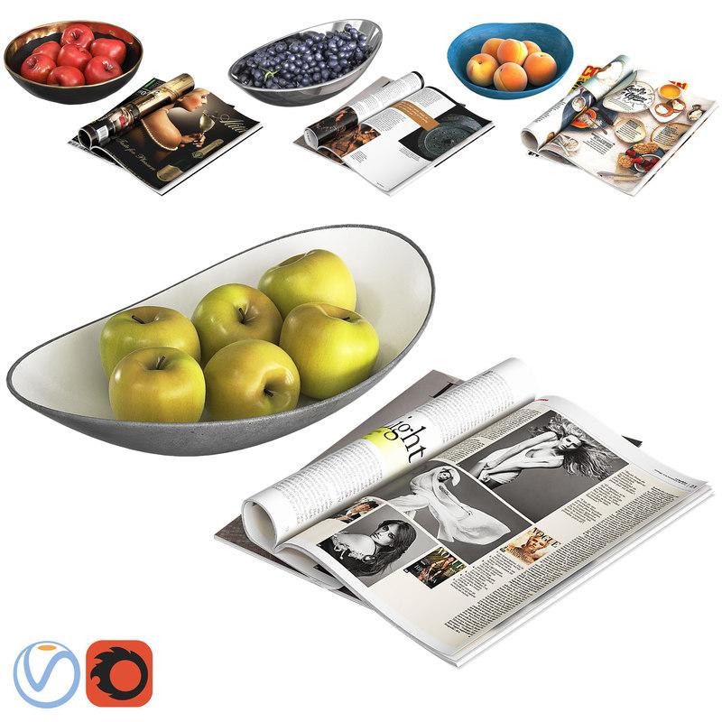 sets fruit bowls 3D model