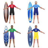 3D pack surfer surfing man model
