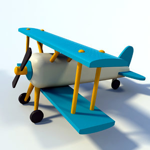 wooden airplane toy 3D model