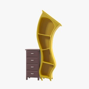 3D book case bookcase model