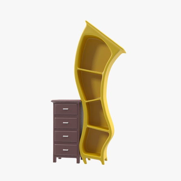 3D book case bookcase model