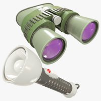 binoculars flashlight 3D model