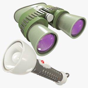 binoculars flashlight 3D model