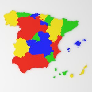 3D spain district state model