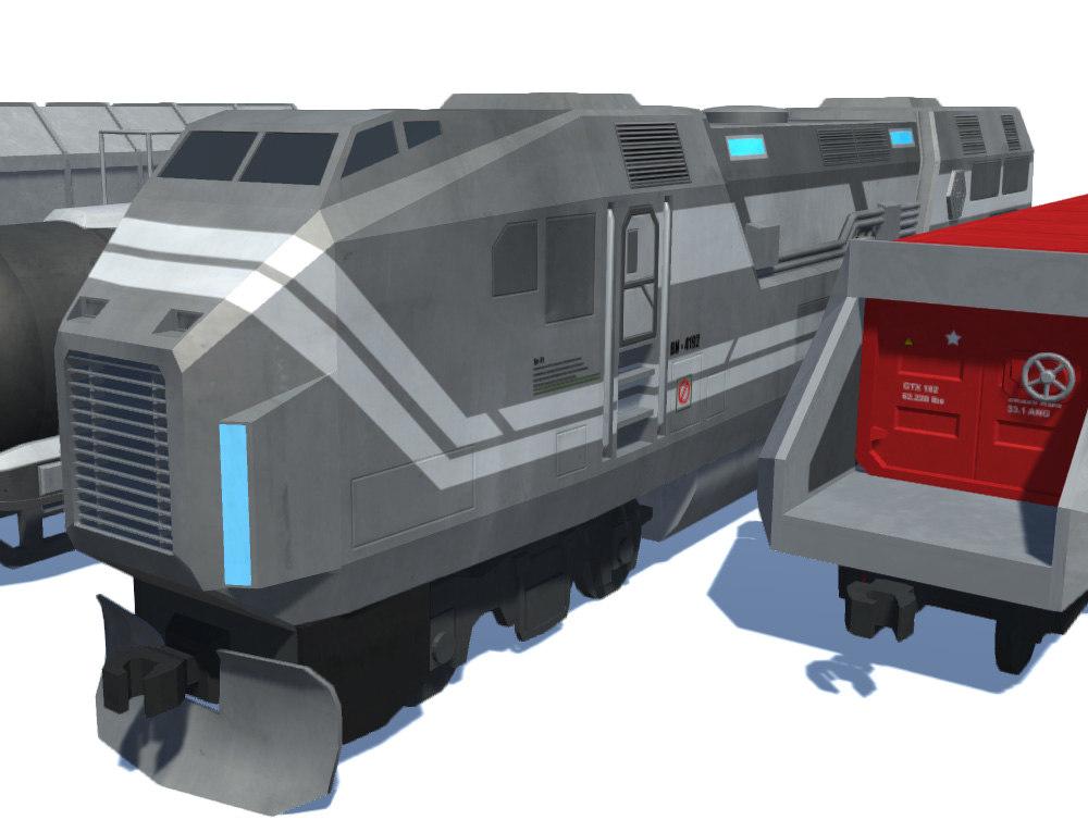 sci fi train set 3D model