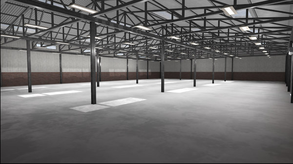 3D large warehouse space